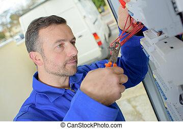 électricien, fil, pinces, coupures
