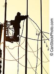 électricien, homme, sur, les, travail