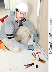 électricien, installation, câblage