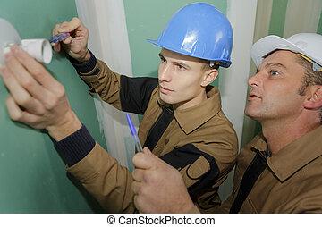 électricien, installation, douille