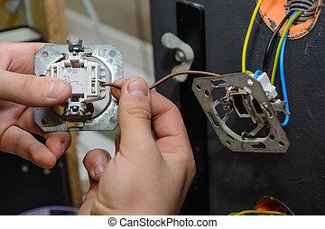 électricien, -, installation, haut, standard, fin