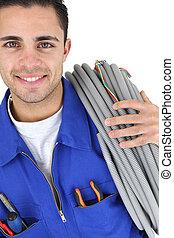 électricien, long, câble