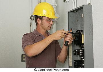 électricien, panneau, industriel