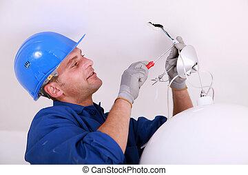 électricien, plafond, câblage, lumière
