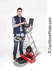 électricien, sien, tenu, équipement