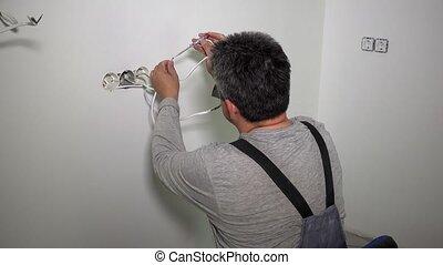 électricien, testeur, câbles, fils, vérification, homme, ...