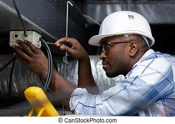 électricien, travail, électrique, exécute