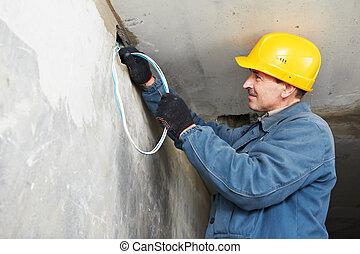 électricien, travail, câblage, câble