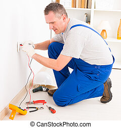 électricien, vérification, douille