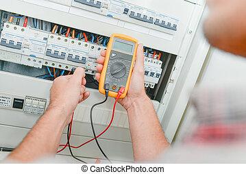 électricien, vérification, fusebox