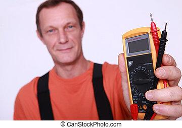 électricien, voltmètre, tenue