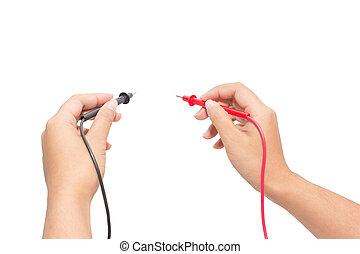 électricien, voltmètre, tenue, probes