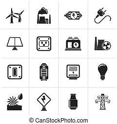 électricité, énergie, puissance, icône