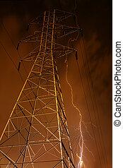 électricité, arrière-plan., pylône, éclair