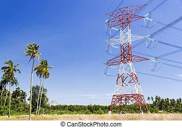 électricité, câbles, pylône, puissance