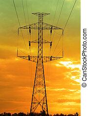 électricité, coucher soleil, pylônes