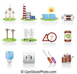 électricité, et, puissance, icônes