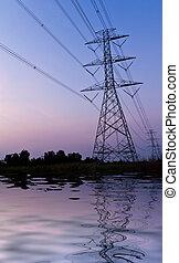 électricité, haute tension, alimentez pylône