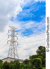 électricité, haute tension, pylône