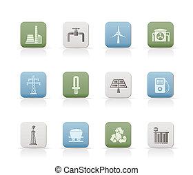 électricité, industrie, puissance, icône