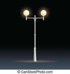 électricité, lampe, rue, isolé, blanc