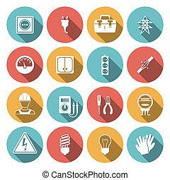 électricité, plat, icône