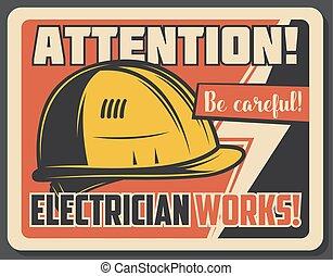électricité, précaution, sur, attention, bannière