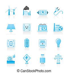 électricité, puissance énergie, icônes