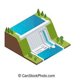électricité, puissance, 3d, vecteur, chain., bâtiment., station, isométrique, illustration, énergie, plat, fourniture, barrage, electric., usine, grille, plant., eau, hydroélectrique