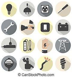 électricité, puissance, icônes, set.