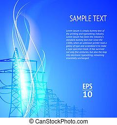 électricité, silhouett, pylônes