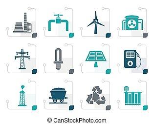 électricité, stylisé, industrie, puissance, icônes
