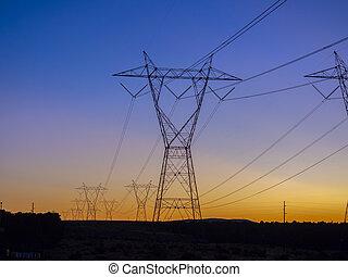 électricité, tension, pouvoir revêt, coucher soleil, élevé