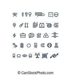 électricité, vecteur, contour, icônes