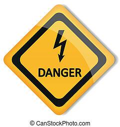 électricité, vecteur, illustration, danger, étiquette