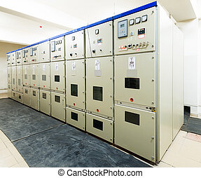 électrique, énergie, distribution, sous-station, dans, a,...