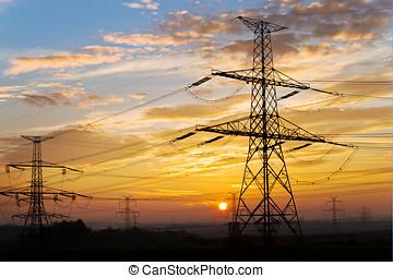 électrique, énergie, -, pylône