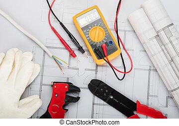 électrique, arrangé, plans, composants