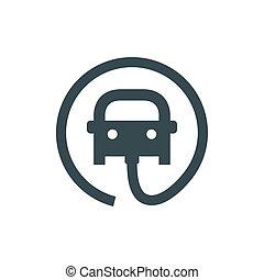 électrique, câble, point, voiture, signe., plug., signe, véhicule électrique, icon., charger, route