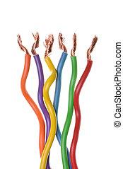 électrique, câbles, systèmes, puissance