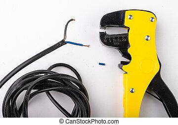électrique, cables., enlever, accessoires, appareil, électrique, isolation, installer.