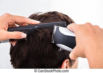électrique, chevêtre, coiffeur, homme, coupure cheveux