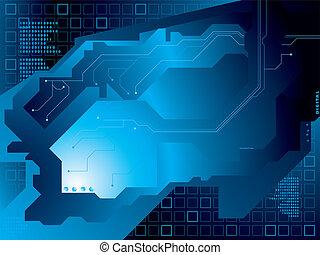 électrique, circuit, bleu
