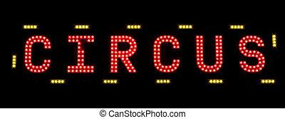électrique, cirque, signe, échafaudage, nuit