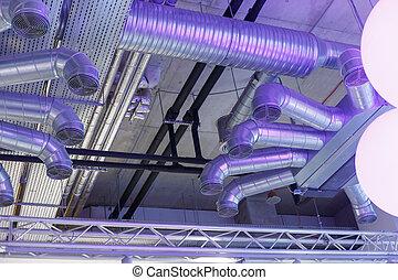 électrique, communications, conduits, système, canaux transmission, ventilation, industriel, sous, plafond