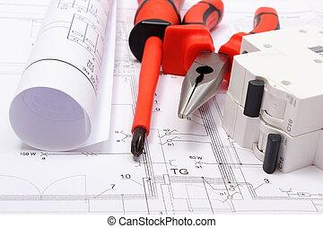 électrique, diagrammes, roulé, travail foyer, fusible, électrique, construction, outils, dessin