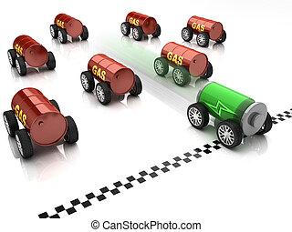 électrique, essence, voiture course