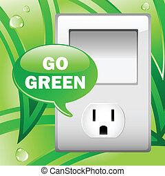 électrique, feuilles, arrière-plan., vert, sortie, aller