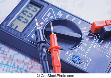 électrique, gros plan, multimètre, circuit.