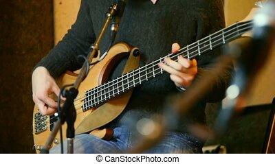 électrique, guitariste, guitare, décapité, studio, jouer
